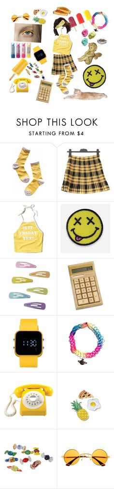 """we all wear yellow submarine"" by metal-militia ❤ liked on Polyvore featuring Madewell, Hollister Co., Hipstapatch, 1:Face, DC Shoes, Été Swim, GPO and Retrò"