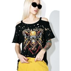 1fa0277fbe898 Trunk Ltd. Megadeath Destroyed Cold Shoulder Tee ( 75) ❤ liked on Polyvore  featuring