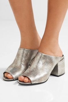 Heel measures approximately 65mm/ 2.5 inches Silver leather Slip on Made in Italy