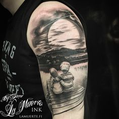 Kids sitting on pier / lake tattoo by Sami Haataja @ La Muerte Ink