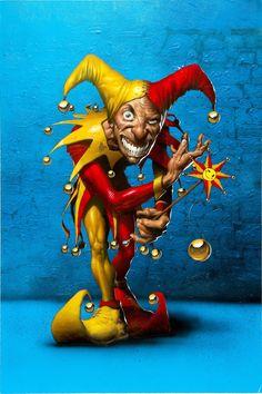 Jester by Jim Murray. Joker Playing Card, Playing Cards Art, Joker Card, Joker Clown, Clown Horror, Evil Clowns, Scary Clowns, Cartoon Design, Cartoon Art