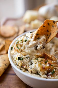 Hot & Cheesy Roasted Cauliflower and Spinach Dip with White Cheddar and Gruyere Cheeses, with Roasted Garlic and a Touch of Spice