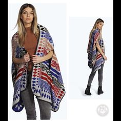"NWT Aztec Boho Cardigan Poncho 30% Wool, 70% Viscose. Flat Measurement of Garment Not Worn. Total Length 73"", Armhole 10.5"". Width:26.5"" Measured on UK ONE Size . ( Machine Washable.) Sweaters Cardigans"