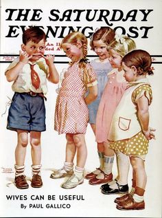 """""""Making Faces"""" is a painted illustration by Norman Rockwell for the July 1937 edition of the Saturday Evening Post. Norman Rockwell Art, Norman Rockwell Paintings, Jc Leyendecker, Journal Vintage, Retro, Saturday Evening Post, Ladybird Books, Making Faces, Chef D Oeuvre"""