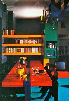 home of architect Romano Juvara; Retro Interior Design, Mid-century Interior, Interior Architecture, Interior And Exterior, Interior Decorating, 1970s Decor, Retro Home Decor, Vintage Decor, Retro Room