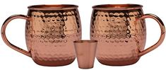 Buy Melange 24 Oz Copper Barrel Mug for Moscow Mules, Set of 2 with One Shot Glass - Pure Hammered Copper - Heavy Gauge - No lining - includes FREE Recipe card Hammered Copper, Dns, Recipe Cards, Moscow Mule Mugs, 100 Pure, Gauges, Anonymous, Free Food, Shot Glass