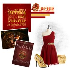 """""""Yule Ball-Gryffindor"""" by star-7 on Polyvore"""