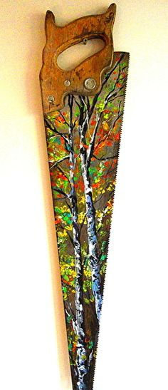 "Painting idea. Autumn Birch trees on Hand Saw by Lindsey Dahl Acrylic ~ 24"" x"
