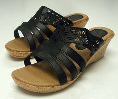 1f0e72b0454 Woman Black Wedge Heel Sandal Slide Shoe Size 7 Comfort Last~ FREE SHIPPING   19