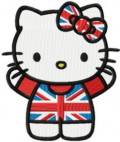 Hello Kitty Great Britain machine embroidery design