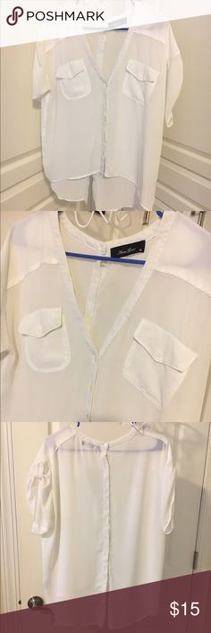 White sheer blouse Very good condition white sheer blouse. Brand is sold at Fab'rik and other boutiques. I accept offers and offer discounts for bundles :) anna grace Tops Button Down Shirts