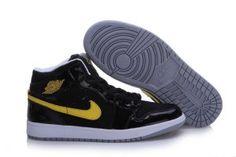 918e7c468a1 Men Air Jordan 1 Retro Black Yellow Shoes