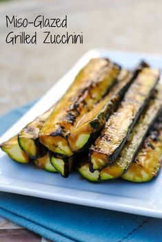 Miso-Glazed Grilled Zucchini - Use this 2 minute, 4 ingredient miso glaze on anything grilled this summer! Glaze was pretty good. Winter time so wasn't about to go out and grill. Just stuck the zucchini in the oven instead! Vegetable Dishes, Vegetable Recipes, Vegetarian Recipes, Healthy Recipes, Vegetarian Grilling, Veggie Food, Healthy Grilling, Whole Food Recipes, Cooking Recipes