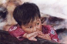 ARTIST WAI MING - Asian Oriental Chinese Fine Art Artwork Paintings Catalog (title: Little Fishboy)