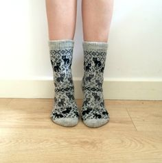 Light Grey Wool Knitted Socks with Cats Cat Pattern Unique Fun Fair Isle