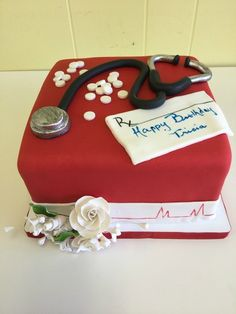 Red doctor themed birthday cake