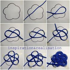 DIY: nautical knots on the table All my china is white and blue (you might have seen some of my cooking fails on the FB page where I sha. Rope Knots, Macrame Knots, Micro Macrame, Paracord Projects, Macrame Projects, Rope Crafts, Diy Crafts, Nautical Knots, Nautical Theme