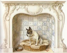 Trompe L'oeil artist's Graham Rust  Fireplace with dog.
