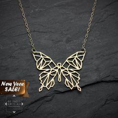 SALE Butterfly necklace geometric butterfly pendant by ByYaeli