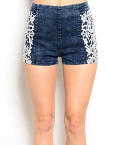 Look what I found on #zulily! Blue Floral Jean Shorts #zulilyfinds