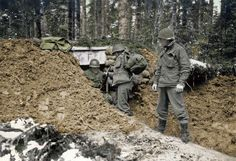 "Company ""F"", 2nd Battalion, 442nd Regiment (Combat Team) moves into a new command post 13 November 1944"