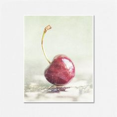 Cherry Picture Food Photography Red Mint by LisaRussoFineArt, $30.00