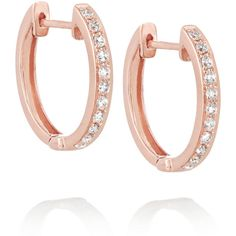 Anita Ko Huggy 18-karat rose gold diamond earrings (6,905 AED) ❤ liked on Polyvore featuring jewelry, earrings, rose gold, hinged earrings, 18k diamond earrings, 18 karat gold earrings, diamond earring jewelry and pink gold jewelry