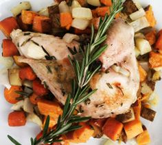 Juicy roasted chicken and tender root vegetables that will fill your home with a rosemary scent.