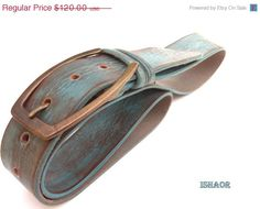 ON SALE Brown Turquoise women's Leather Belt handmade designed By Ishaor