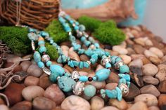 Multi Strand Turquoise Necklace, Semi Precious Stone Necklace, Beaded Necklace, Handcrafted, Gift for Her, Valentine Gift by IvanRoseCreations on Etsy