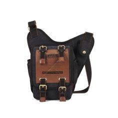 KAUKKO Black Men's Retro Canvas Travel Shoulder Bags Messenger Bag - Banggood Mobile