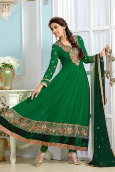 #SonaliBendre Suits-#Green Faux Georgette #Anarkali #Suit with Embroidered and Lace Work - Rs. 2,499. #zohraa