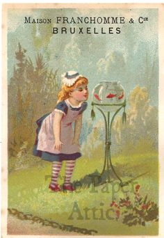 Victorian Girl with Goldfish Bowl Antique Vintage French Chromo Trade Card | eBay
