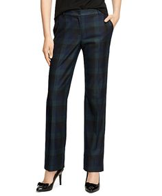 """Our plaid trousers are crafted in wool flannel with one real corozo button and zipper at center front. Grosgrain detail at inside waistband. 32½"""". Dry clean. Imported."""