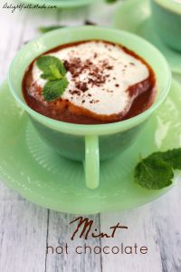 Relax and enjoy a rich, delicious cup of home made Mint Hot Chocolate! It's so easy to make using just a few simple ingredients. You'll never use store-bought powdered cocoa mix after having this!