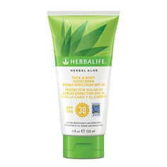 Herbal Aloe Face & Body Sunscreen Broad Spectrum SPF 30  Protects skin from the sun's damaging UVA/UVB rays Helps prevent sunburn & Water and sweat resistant for up to 40 minutes  #herbalife #herbalifefaceandbodysunscreen #herbalifesku0921 https://www.goherbalife.com/shedpounds/en-US/Catalog/Outer-Nutrition/Herbal-Aloe-Bath-Body-Care/Herbal-Aloe-Face-amp-Body-Sunscreen-Broad-SpectrumSPF-30