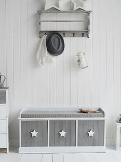 Grey and white stars Cottage hall furniture. The White Lighthouse offers a range of furniture and accessories with a combination of Coastal, Scandi, Danish, French, Shabby Chic and New England styles