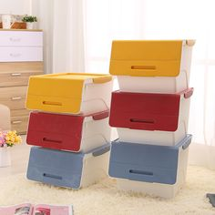 [S$11.90]Creative Stackable Storage Box - 3 Sizes! Space Saving Compartment Organizer Container Cabinet Solution Home Easy Room/Wardrobe Organisers for Kids Toys Bags Clothes Accessories