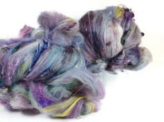 4.6 oz 130 grams art batts merino and wool locks with loads of sparkles