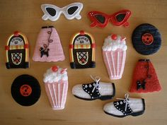 50s cookies  I would love a 50s themed party when I turn 50 :)