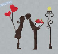 Counted Cross Stitch Pattern PDF Little couple by SimpleSmart, $3.00