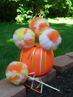 Candy Corn Poof Wand--- HALLOWEEN, Birthdays, Princess Play, Costume Parties.. $9.25, via Etsy.