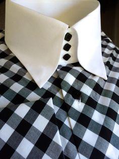 MorCouture Black White Diagonal Gingham Check High Collar Shirt L - Mens High Collar Shirts, Shirt Collar Styles, Men Shirts, Best Dress Shirts, Mens Fashion Shoes, Men's Fashion, Custom Made Shirts, Stylish Mens Outfits, Gingham Check
