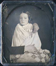 Sixth-Plate Daguerreotype Circa 1847, father off to side, unknown daguerreotypist.