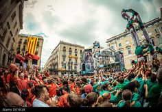 Barcelona, Spain. 24th Sep, 2013: The Castellers of Barcelona, poble-sec and the Sagrada Familia build a human tower in front of Barcelona's town hall during the city festival, La Merce, 2013 © matthi/Alamy Live News