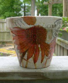 "Handmade Decoupage Terra Cotta Clay Flower Pot 5"" Coneflowers"