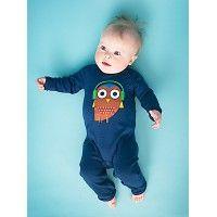 "Baby jumpsuit ""Fonne"" navy blue owl"