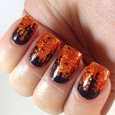 Orange, glitter base, halloween, black, spooky, scary,