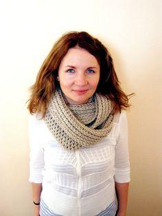 READY TO SHIP  Crochet Infinity Scarf Begie Melange by oxihandmade