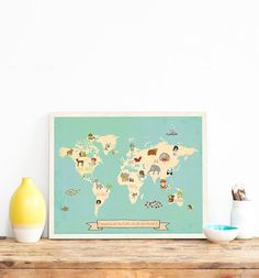 Animal World Map World Map Wall Art Print for by ChildrenInspire